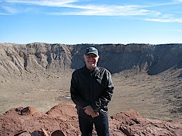 Author and meteor crater
