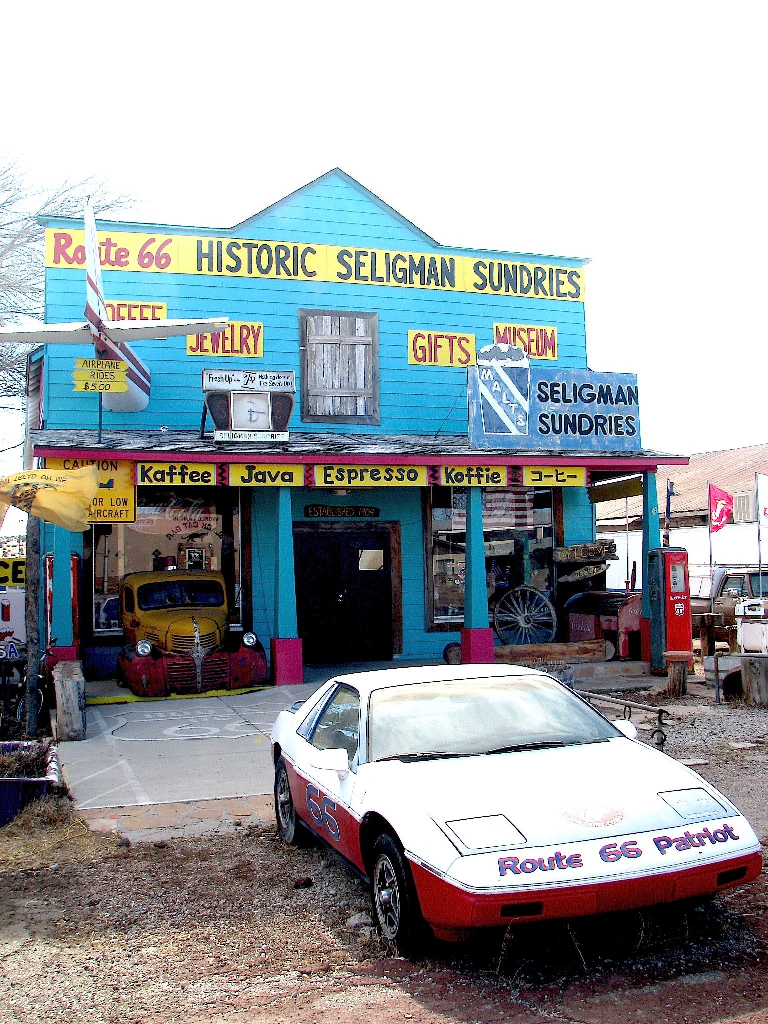 Historic Seligman Sundries embodies Route 66 as  1950s spirit in all its kitschy glory.